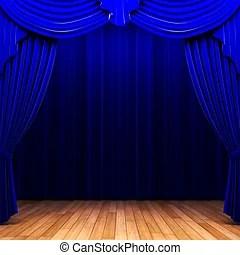 rideau velours bleu ouverture scene