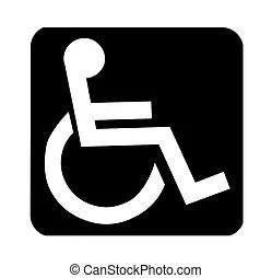 Handicap, signe. Accès handicapé, fauteuil roulant, signe., logo.