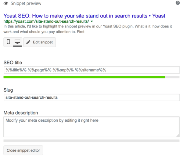 Edit Yoast SEO snippet preview