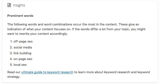 insights prominent words yoast seo