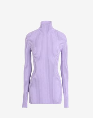 Mm6 By Maison Margiela High Neck Sweater Lilac Viscose, Polyester
