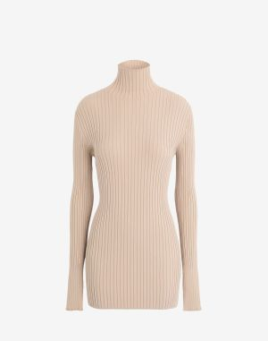 Mm6 By Maison Margiela High Neck Sweater Beige Viscose, Polyester