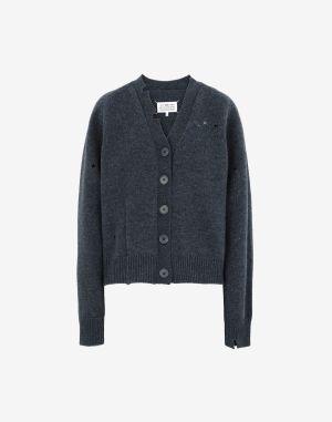 Maison Margiela V-neck Sweater Slate Blue Wool