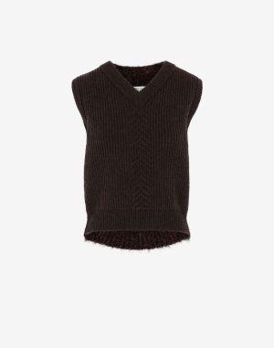 Maison Margiela V-neck Sweater Brown Wool, Polyamide, Polyester