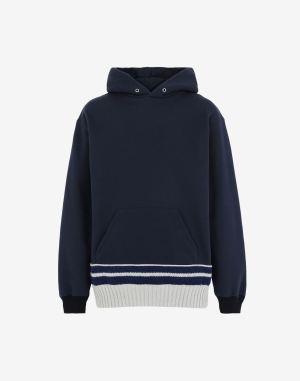 Maison Margiela Hooded Sweatshirt Dark Blue Cotton, Wool