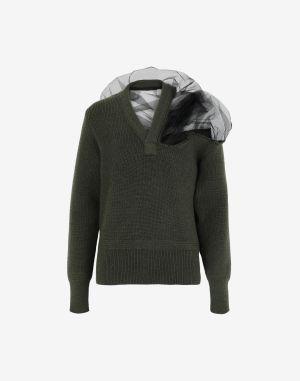 Maison Margiela V-neck Sweater Military Green Wool