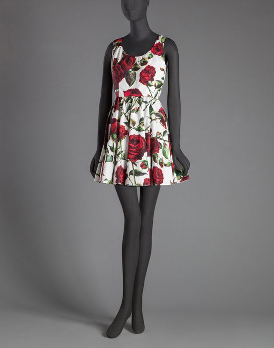 ROSE PRINT POPLIN DRESS - Short dresses - Dolce&Gabbana - Winter 2015