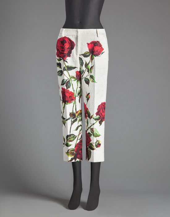 ROSE PRINT BROCADE TROUSERS - Casual trouser - Dolce&Gabbana - Winter 2015