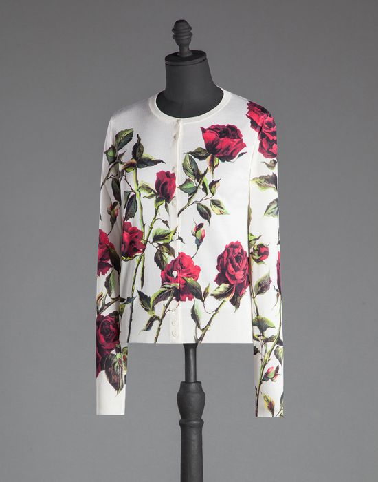 ROSE PRINT STOCKINETTE STITCH SATIN CARDIGAN - Cardigans - Dolce&Gabbana - Winter 2015