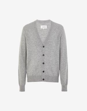 Maison Margiela Cardigan Grey Wool, Bovine Leather