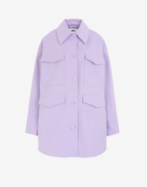 Mm6 By Maison Margiela Coats And Trenches Lilac Cotton, Elastane