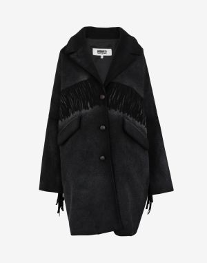 Mm6 By Maison Margiela Coats And Trenches Black Wool, Polyamide