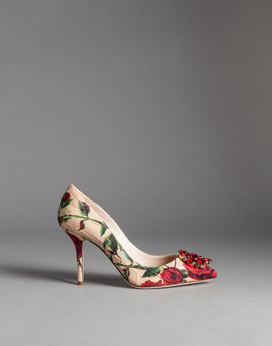 ROSE PRINT BROCADE BELLUCCI COURT SHOES - Closed-toe slip-ons  - Dolce&Gabbana - Winter 2015