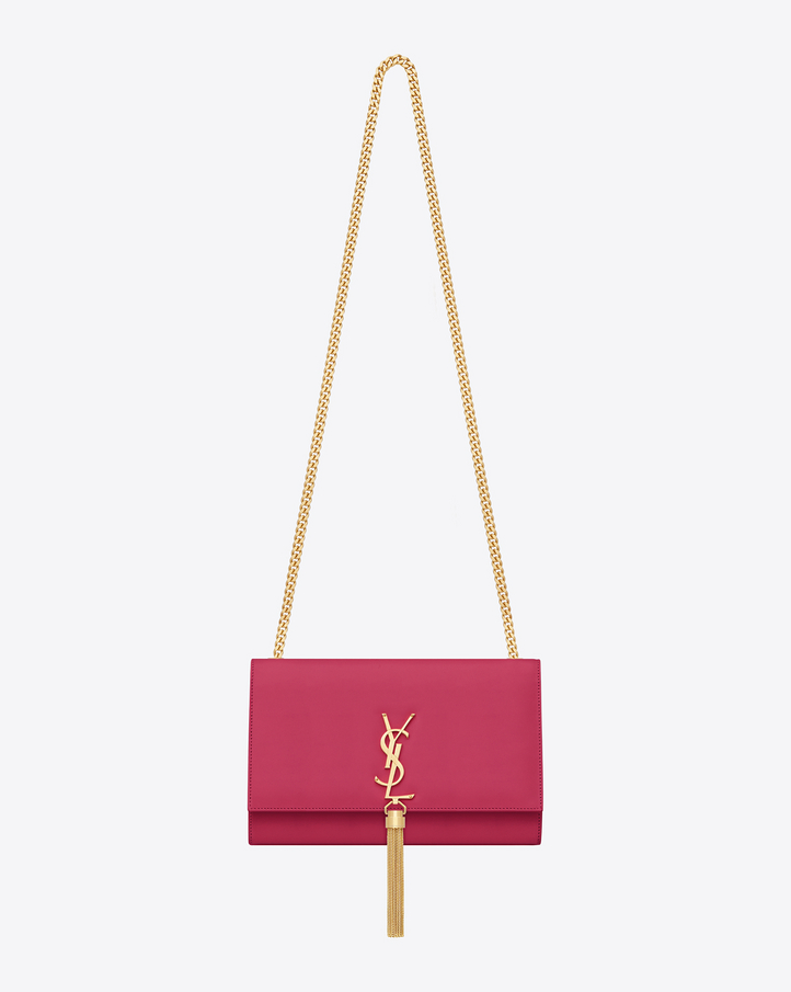 saintlaurent, CLASSIC MEDIUM MONOGRAM SAINT LAURENT TASSEL SATCHEL IN LIPSTICK FUCHSIA LEATHER