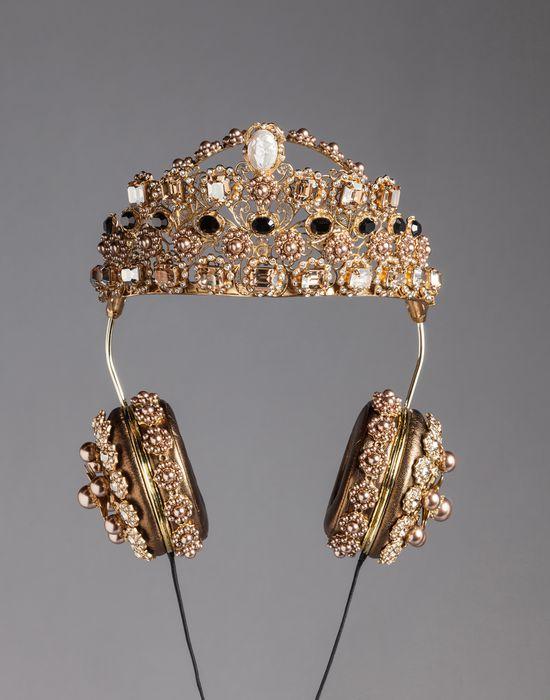 NAPA LEATHER RHINESTONE HEADPHONES WITH CROWN - Headphones - Dolce&Gabbana - Winter 2016