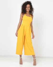bd639cfff0ec Legit Tie Back Culotte Jumpsuit Mustard