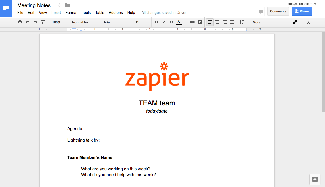Create document template in Google Docs