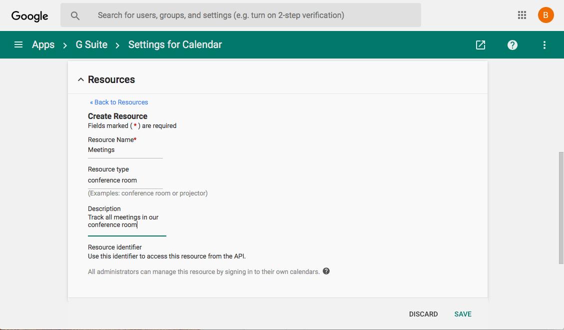 G Suite Shared Resource Calendar