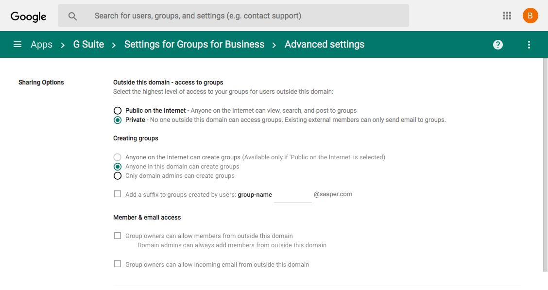 G Suite Google Groups settings