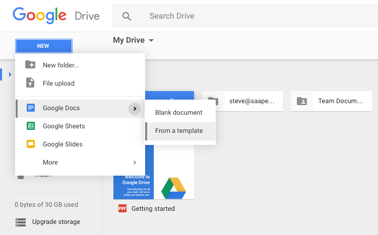 Create template in G Suite Google Drive