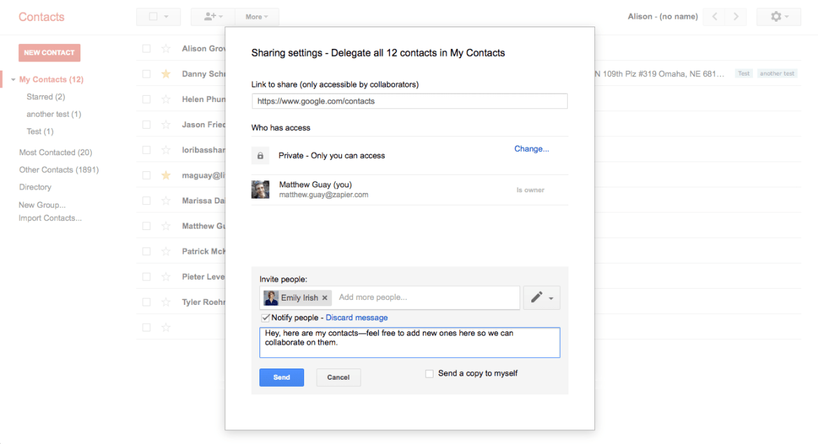 Share Contacts G Suite Gmail