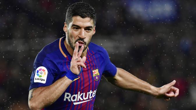 Striker Barcelona Luis Suarez. (AP/Alvaro Barrientos)