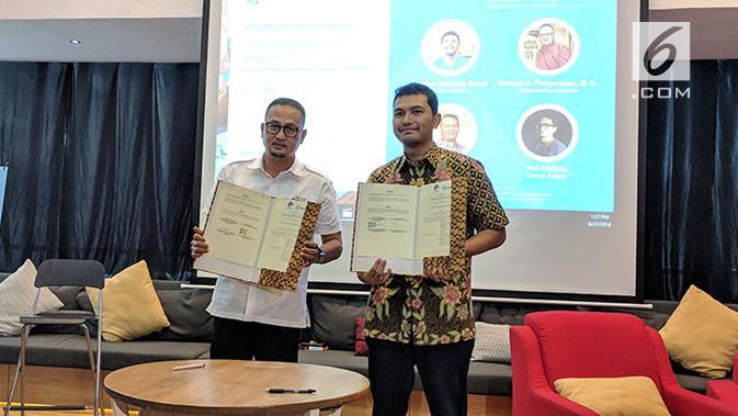 Ki-ka: Dirjen Aptika Kemkominfo Semuel Abrijani Pangerapan dan CEO Qlue Rama Raditya. Liputan6.com/Jeko I.R.