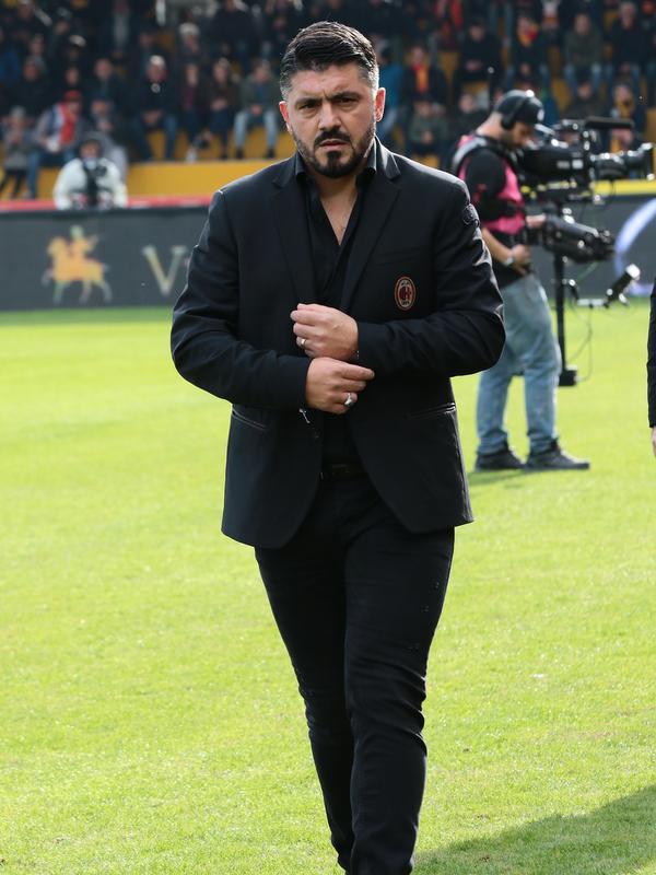Pelatih AC Milan, Gennaro Gattuso, belum tentu dipertahankan musim depan. (AFP Photo/Carlo Hermann)