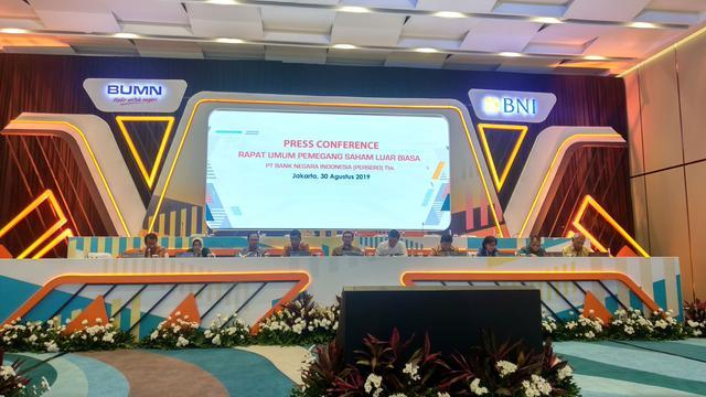 Press Conference Rapat Umum Pemegang Saham Luar Biasa (RUPSLB PT Bank Negara Indonesia (Persero) Tbk (BNI).
