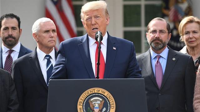 Konferensi pers oleh Presiden AS Donald Trump terkait Virus Corona yang kasusnya terus meningkat di Amerika Serikat.