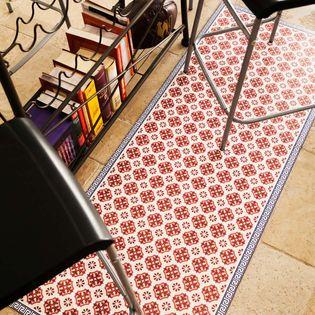 tapis en vinyle 99 deco vintage rouge