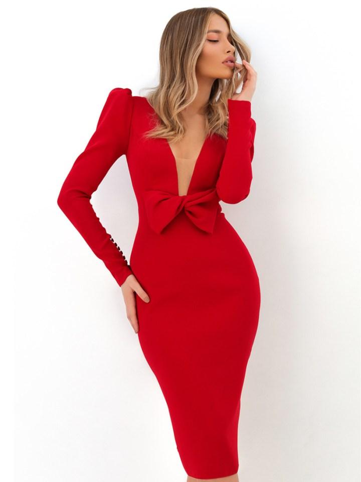 Tarik Ediz - abito rossa a sirena con splendido fiocco centrale.