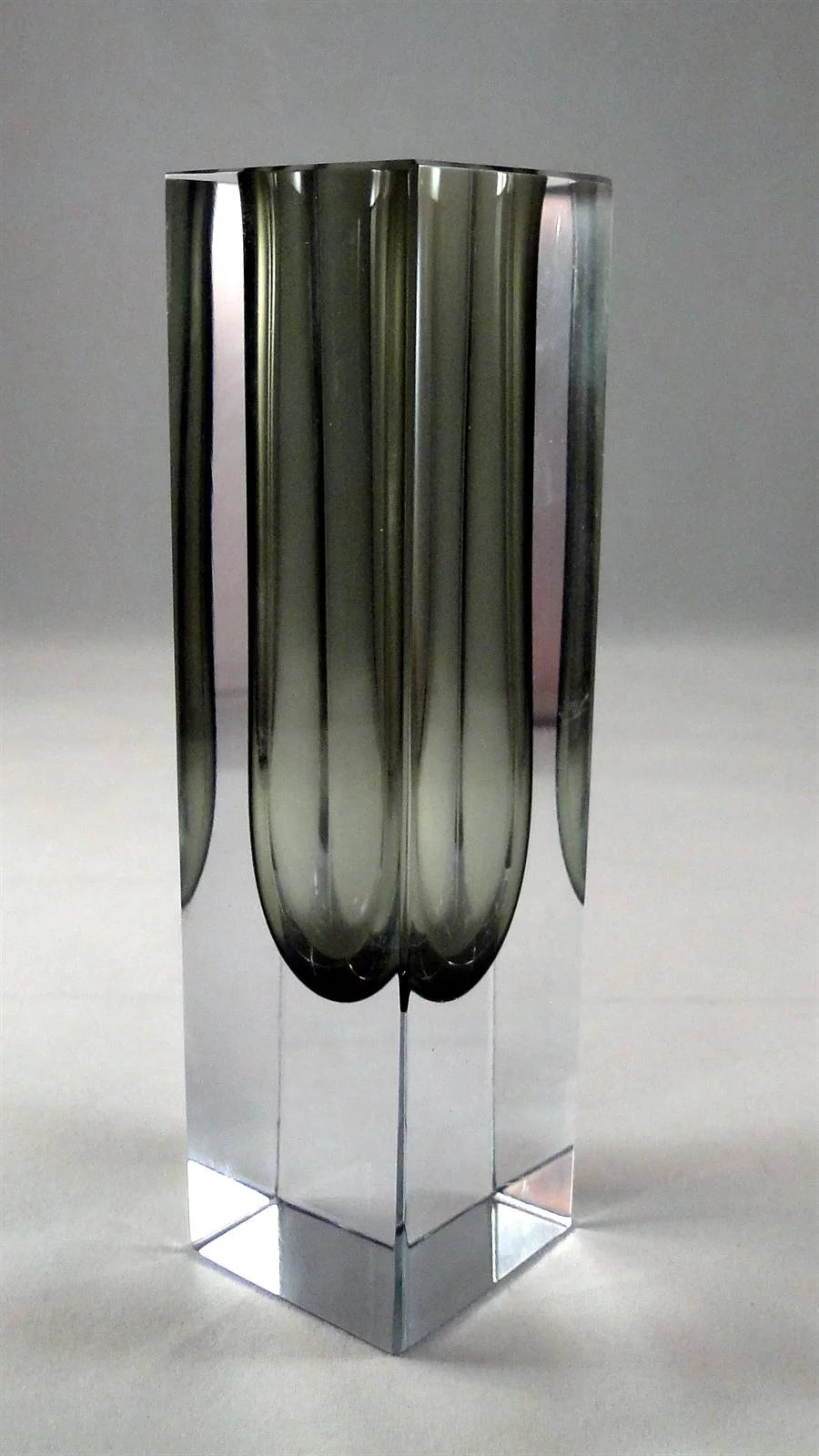 Vintage Murano Glass Bud Vase Art Glass With Gray