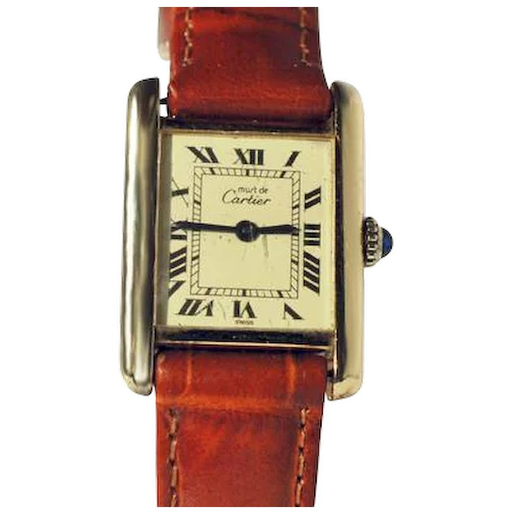 Ladies Cartier Tank Watch   Hammers Golden Peacock   Ruby Lane Ladies Cartier Tank Watch