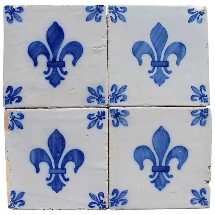 antique set of 4 fleur de lis tiles portuguese tin glazed pottery earthenware