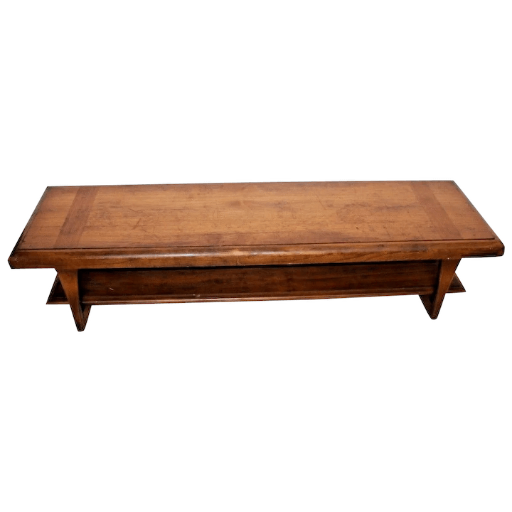vintage mid century modern two tier long coffee table console tv stand