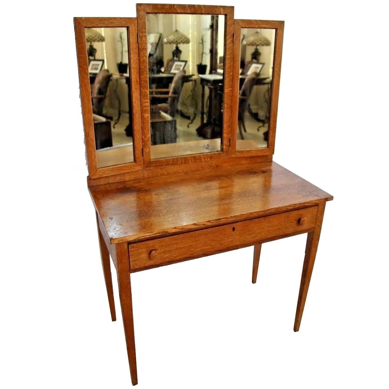 Antique Vanity Tri Mirror Mission Arts And Crafts Tiger Oak Desk At Melrose Vintage And Antique Furniture Ruby Lane