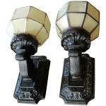 Pair Vintage Cast Iron Porch Light Fixtures Bread Butter Antiques Llc Ruby Lane