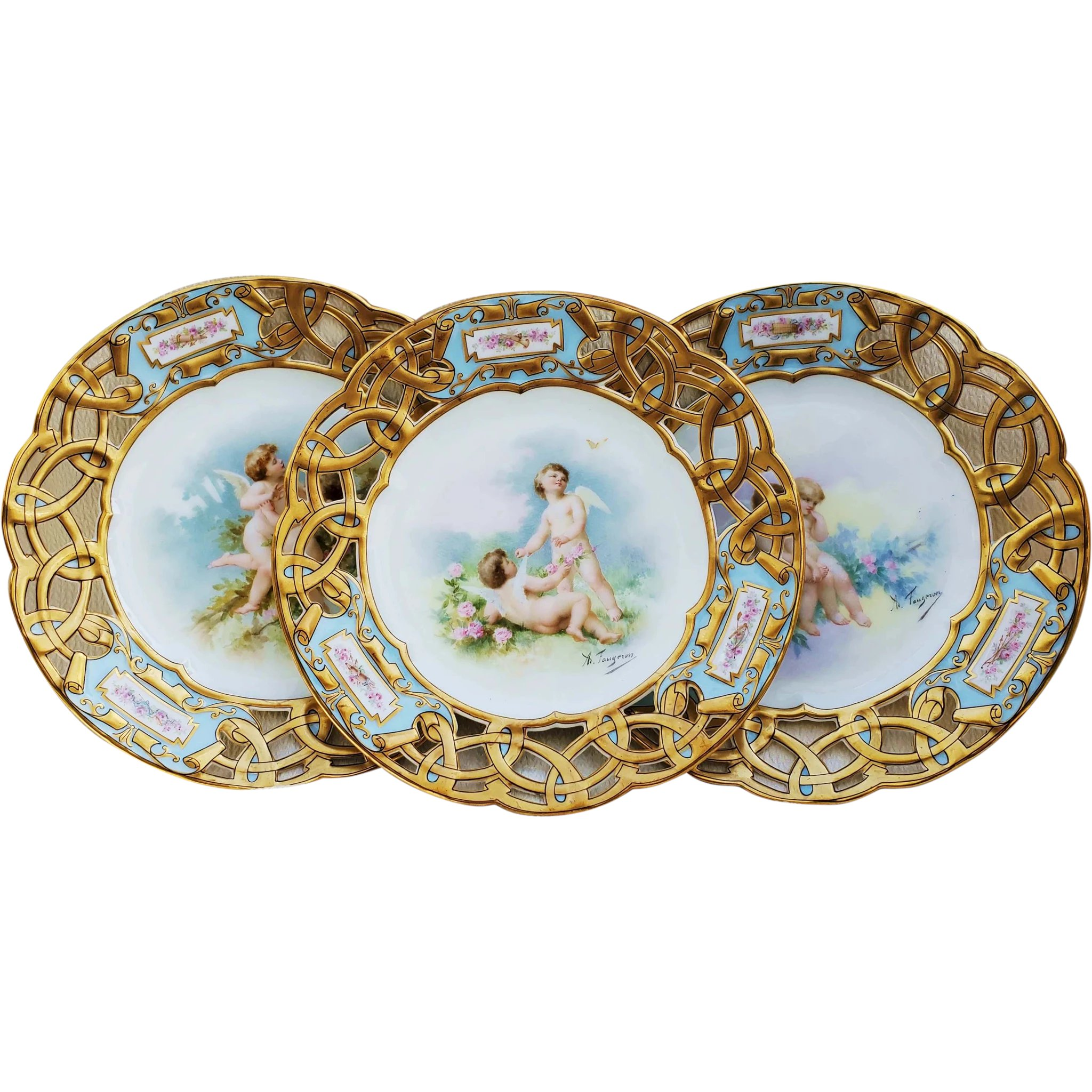 fabulous vintage limoges france pre 1900 hand painted putti s sitting in a rose garden reticulated scenic 9 plate by listed artist adolphe