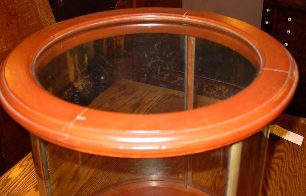 Unusual Round Table Top Counter Top Display Case Sydows