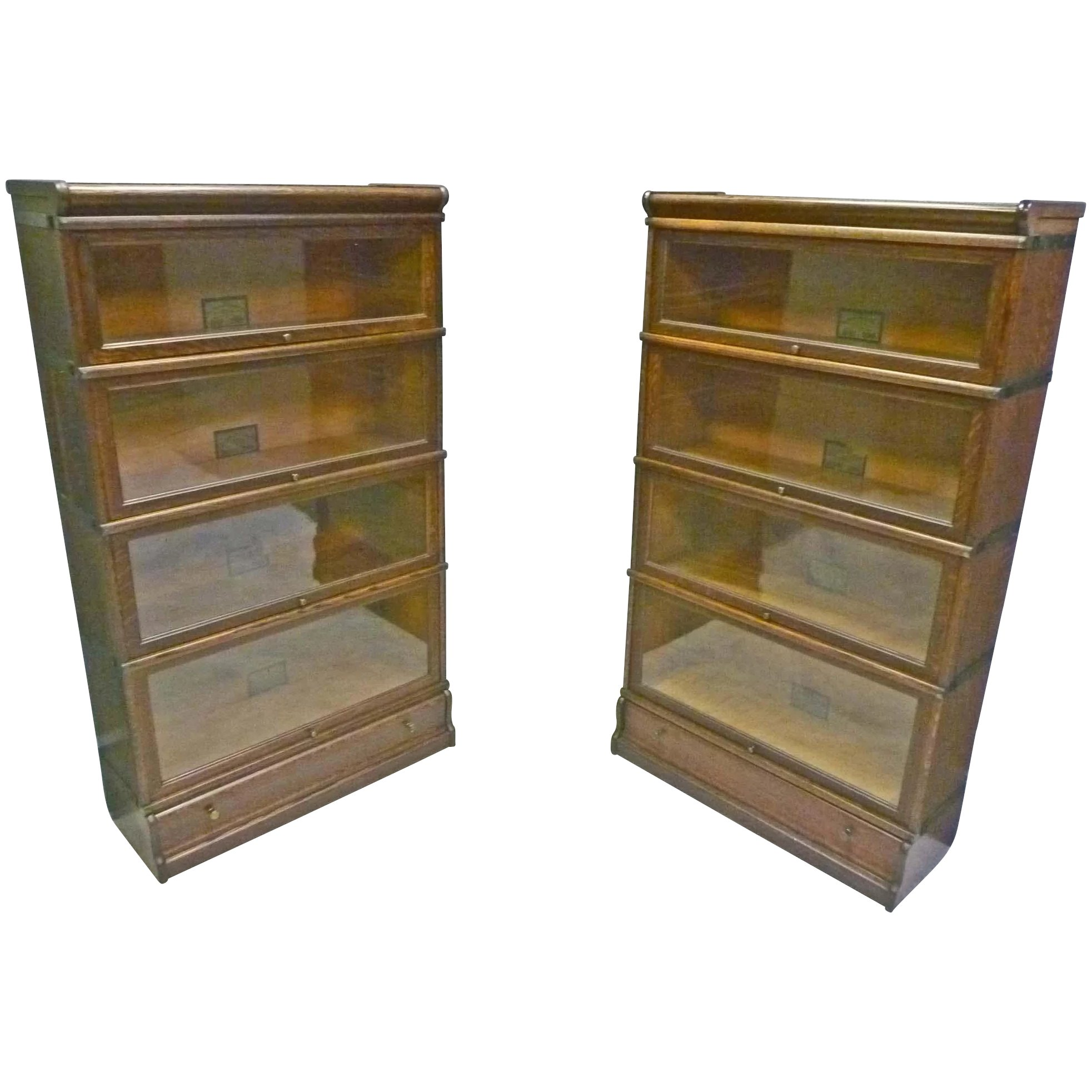 Pair Of Oak Stacking Bookcases By Globe Wernicke