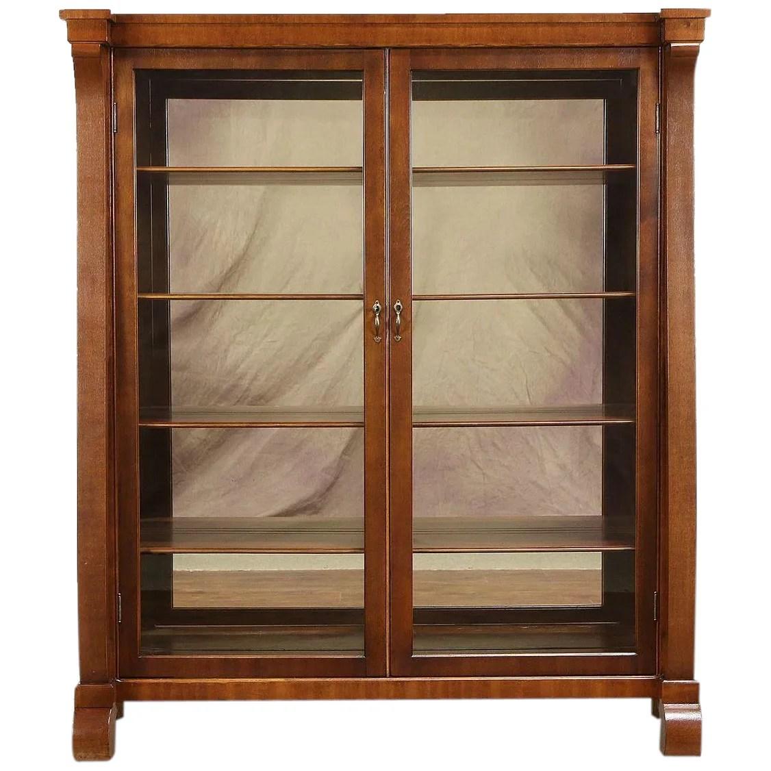 Empire Antique Mahogany Bookcase Or Curio Cabinet Glass Doors Mirrors 30921