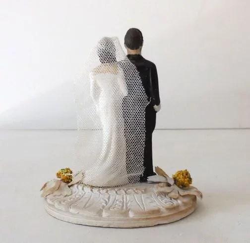 Vintage 1940s Chalkware Wedding Cake Topper California