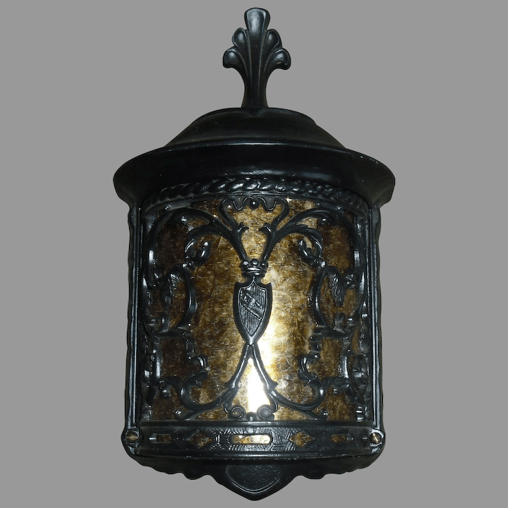 pair spanish revival porch light fixture with mica panel 2 pair available