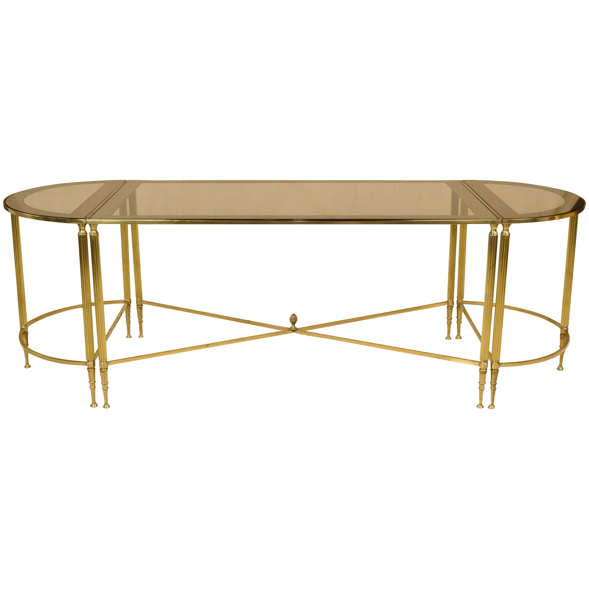 french cocktail or coffee table trio set brass and glass
