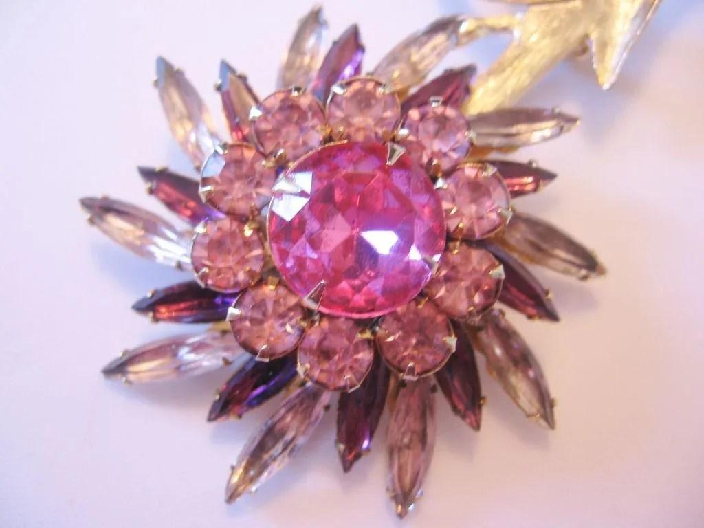 Judy Lee Large Rhinestone Flower Pin Brooch Vintage