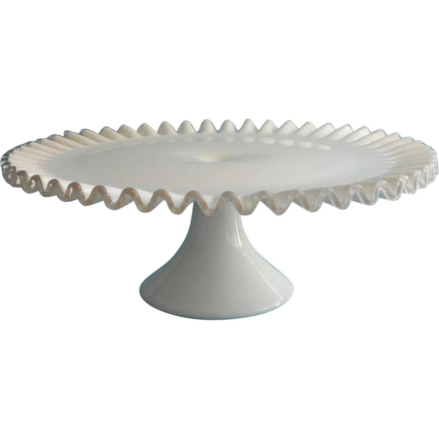 Fenton Cake Stand Pedestal Silver Crest Milk White Glass