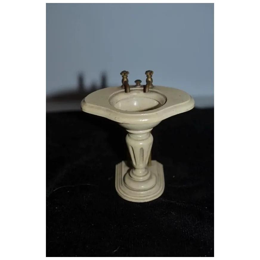 wonderful old doll french miniature sink wood w metal handles fancy w part label pedestal sink