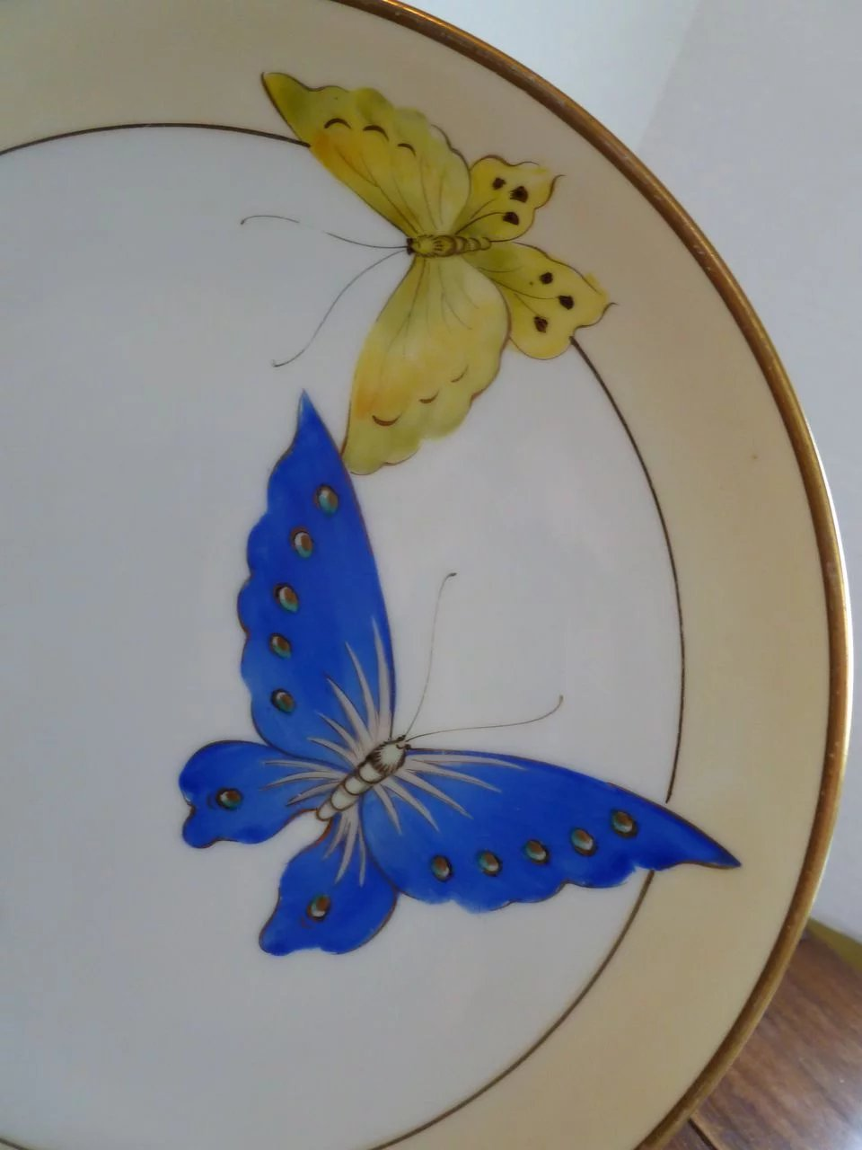 Rare Nippon Morimura Nippon Hand Painted Butterfly Plates