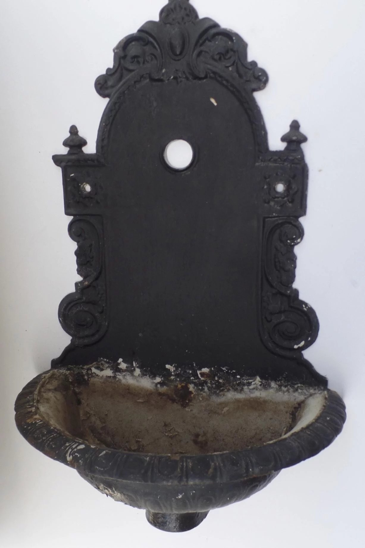 1890's Cast Iron Wall Fountain Planter Lavabo : Black ... on Iron Wall Vases id=52244